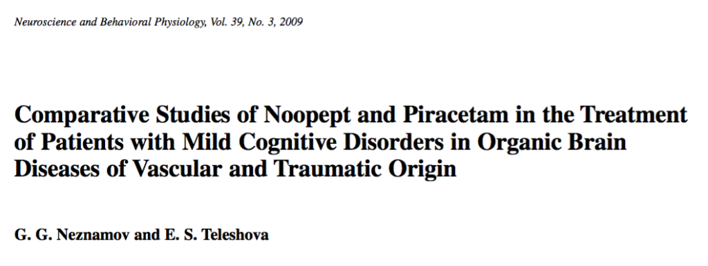 Comparative Studies of Noopept and Piracetam in the Treatment of Patients with Mild Cognitive Disorders in Organic Brain Diseases of Vascular and Traumatic Origin