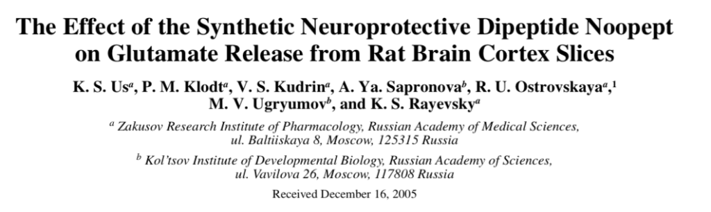 The Effect of the Synthetic Neuroprotective Dipeptide Noopept on Glutamate Release from Rat Brain Cortex Slices