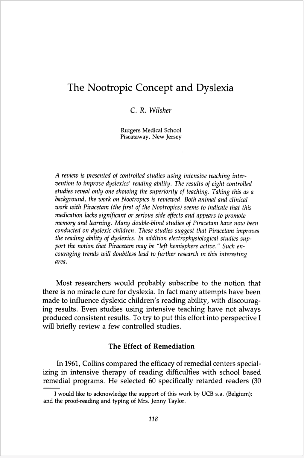 The Nootropic Concept And Dyslexia