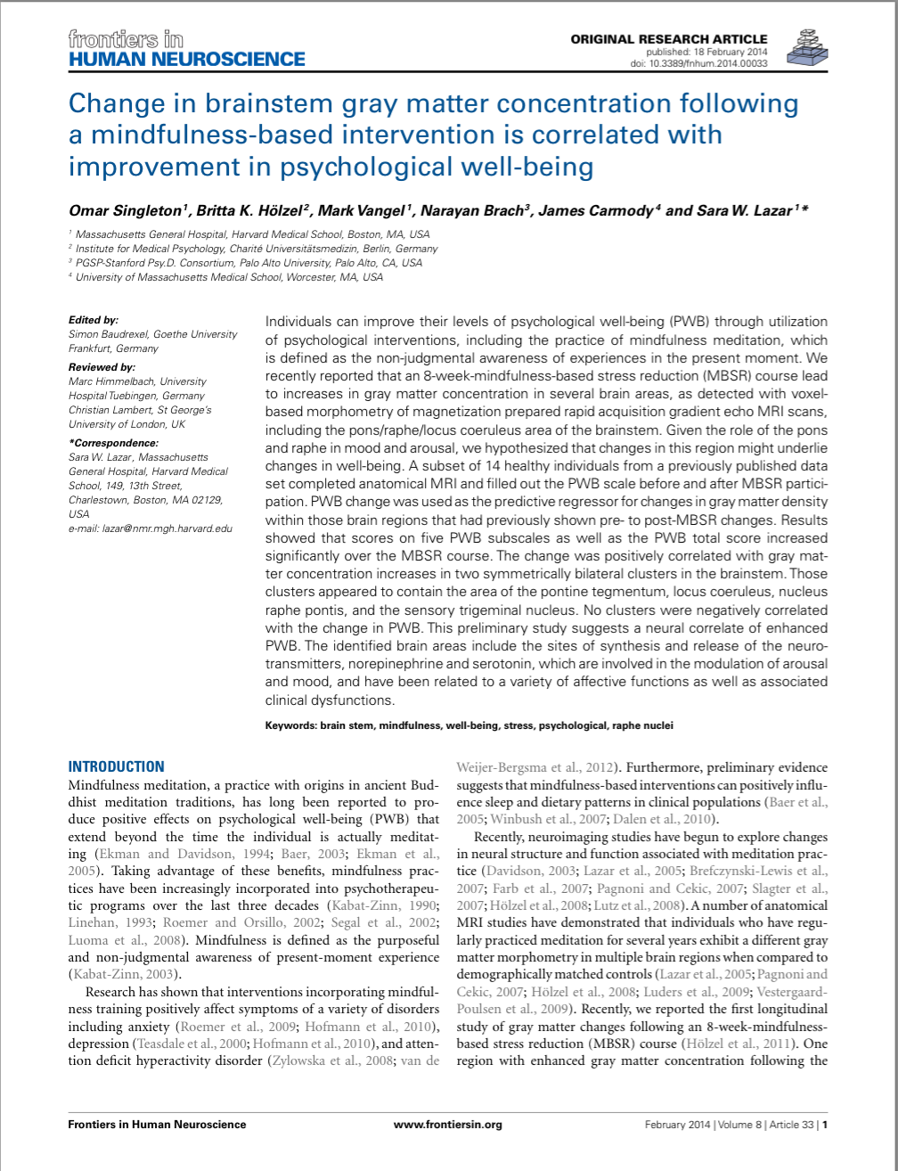 Change in brainstem gray matter concentration following a mindfulness-based intervention is correlated with improvement in psychological well-being