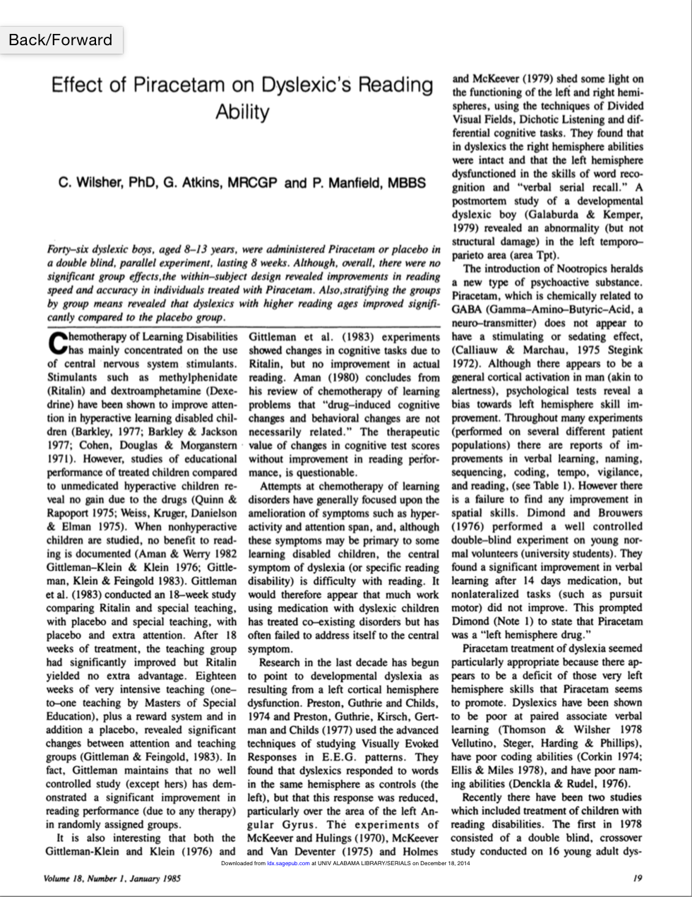 Effect of Piracetam on Dyslexic's Reading Ability