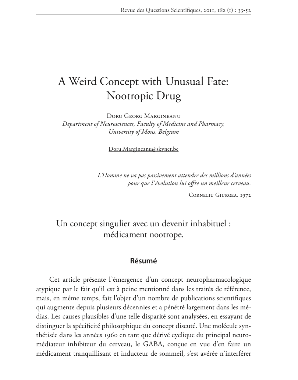 A Weird Concept with Unusual Fate: Nootropic Drug