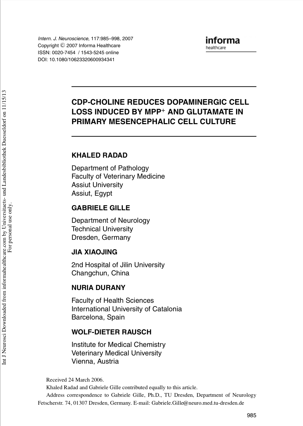 CDP-Choline Reduces Dopaminergic Cell Loss Induced by MPP+ and Glutamate In Primary Mesencephalic Cell Culture