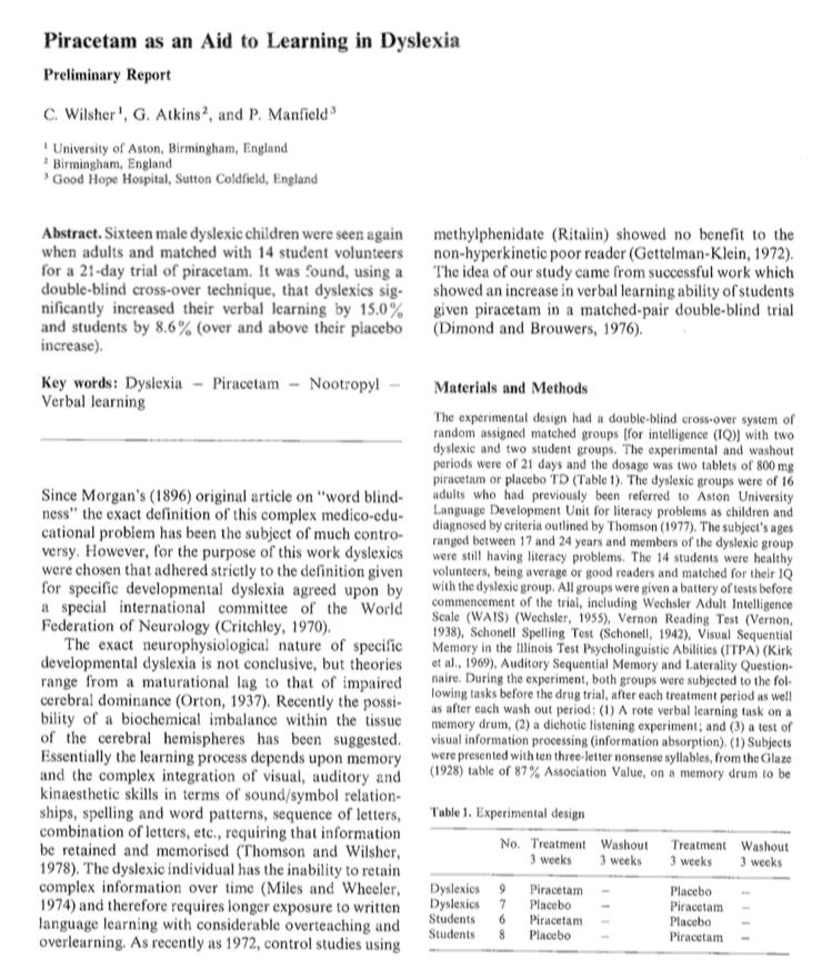 Piracetam as an Aid to Learning in Dyslexia