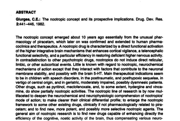 The nootropic concept and its prospective implications - Prof Corneliu E. Giurgea