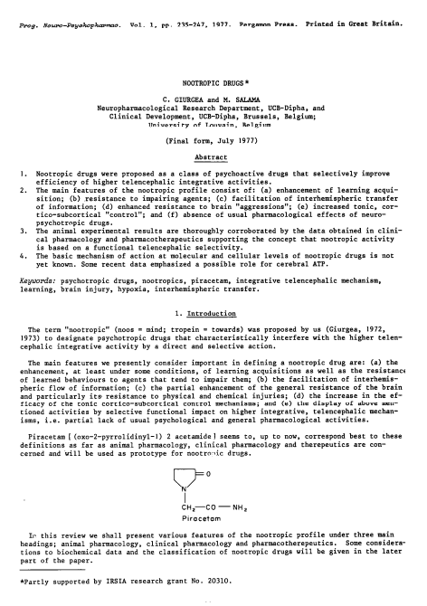 Nootropic Drugs – Giurgea and Salama 1977