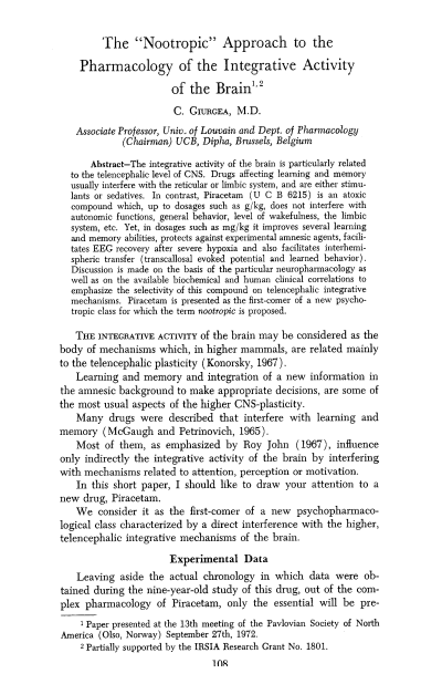 """The """"Nootropic"""" Approach to the Pharmacology of the Integrative Activity of the Brain (1973)"""
