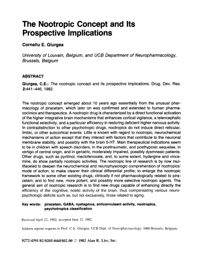 The Nootropic Concept and Its Prospective Implications