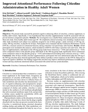 Improved Attentional Performance Following Citicoline Administration in Healthy Adult Women