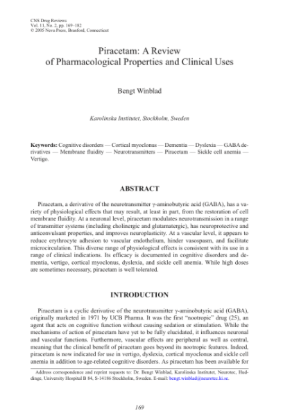 Piracetam: A Review of Pharmacological Properties and Clinical Uses