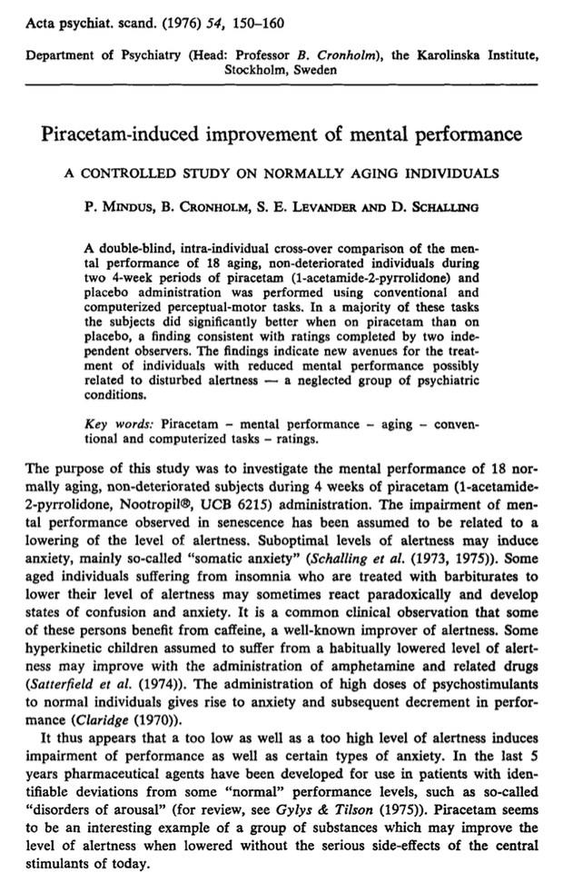 Piracetam-induced improvement of mental performance