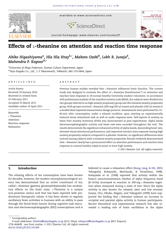 Effects of L-theanine on attention and reaction time response